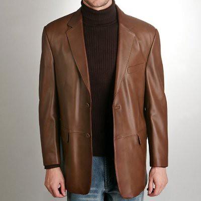 BGSD Men's Classic Two-Button Lambskin Leather Blazer | Flickr