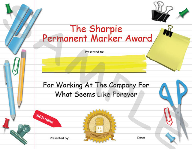 Funny Employee Office Awards: The Sharpie Permanent Marker ...