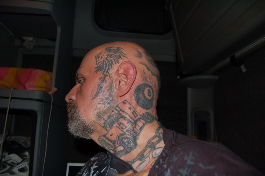 Side Of Face Tattoos: Left Side Of Head, Neck And Face Tattoo