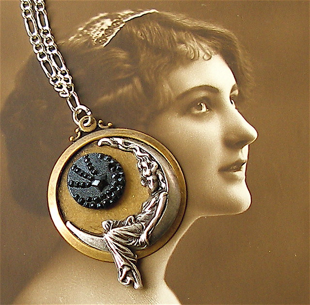 Star gazing with the moon goddess, antique button necklace… | Flickr