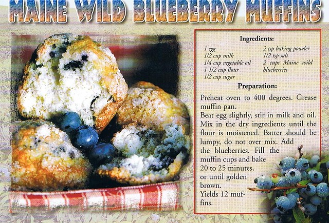 Maine Wild Blueberry Muffins recipe postcard - available