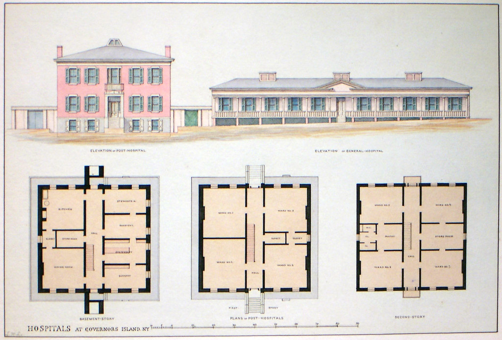 Plan Elevation Section Of Hospital : Governor s island ny old post hospital elevations and pla