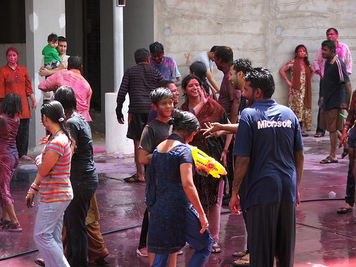 Holi Celebration at our appartment complex | by abhinaba