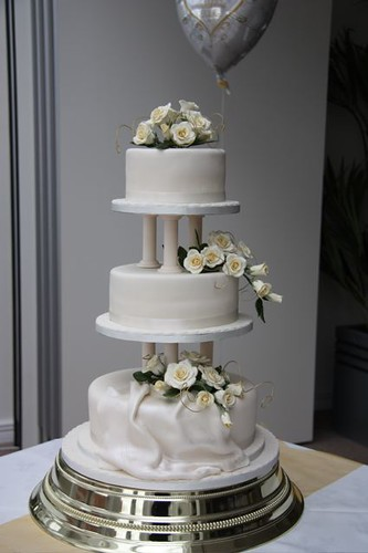 White Wedding Cake Pillars Three Tier Set On With