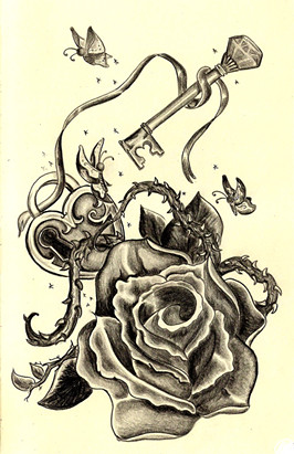 Roses And Locks And Keys Oh My Pencil On Paper
