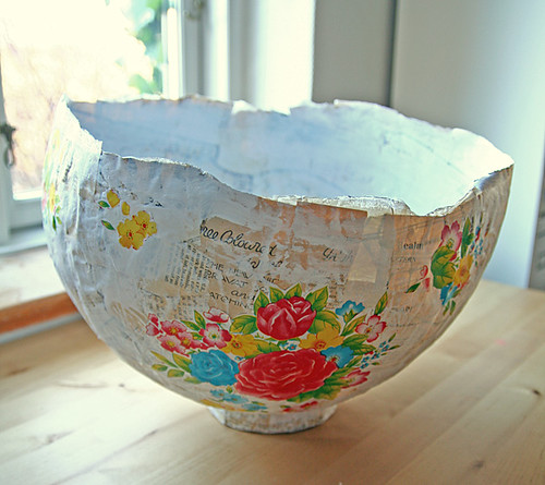 Large paper mache bowl paper bowl with flower detail for Diy paper bowl