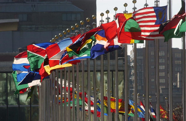photo of flags outside the United Nations