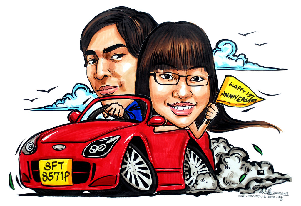 Couple Caricatures On Sports Car