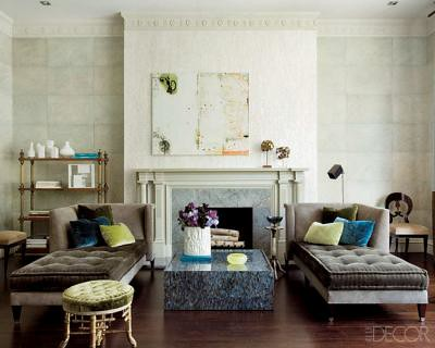 Luxe neutral living room featured in elle decor the for Neutral lounge decorating ideas