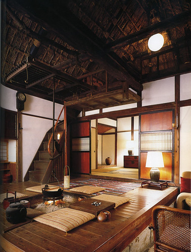 Interior Of Japanese Country House, With Central Fire Pit