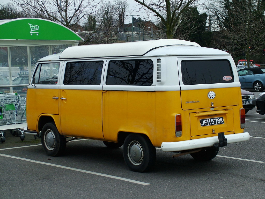 Yellow Vw Camper Rear 1972 Volkswagen T2 Campervan