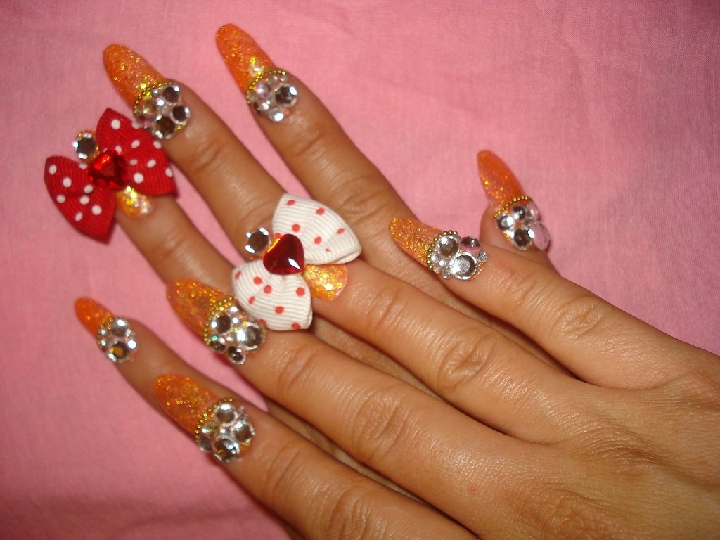 ★My New Nails ~BOWz!!~★ | Got bored with my previous nailz ...
