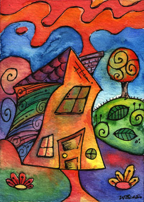 Aceo Geometric Abstract House Aceo 281 Aceo