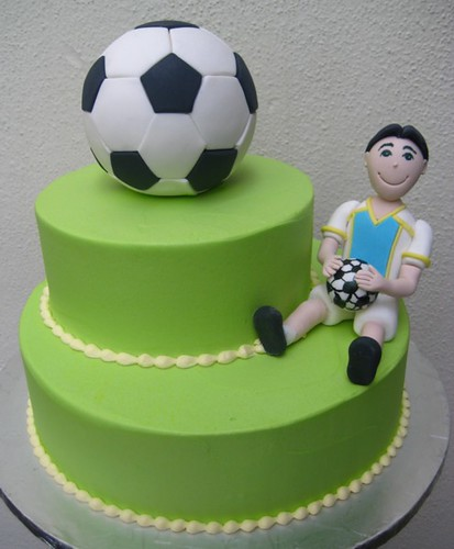 Football Cake A Two Tier Football Themed Cake The