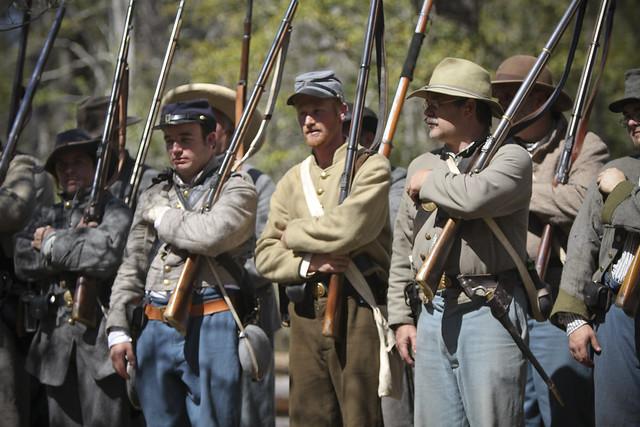 Civil War reeactment lineup to salute the crowd
