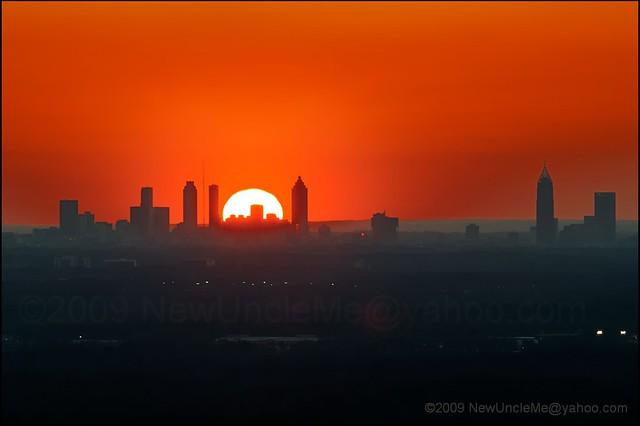 Sunset Over Atlanta Georgia February 19 2009 Stone