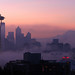 Purple Foggy Seattle Sunrise with Mountain