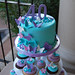 40th birthday purple turquoise and pink butterfly and hearts cupcake tower Topper Cake