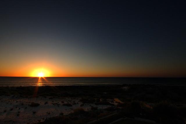 sunset cloudless sky