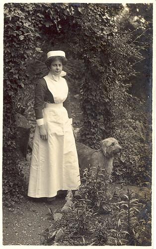 Wwi British Nurse And Small Irish Wolfhound By Sunnybrook100