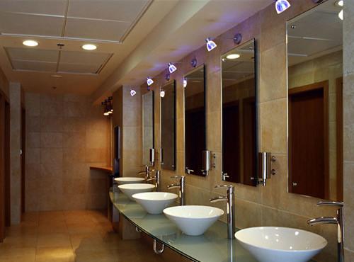 Lobby bathroom modern lobby bathroom by for Restaurant restroom design ideas