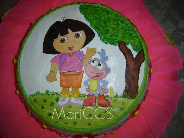 Dora Cake Recipe In English: Dora The Explorer Fondant Painted Cake