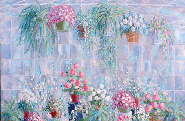 Kenneth Kaye Painting Conservatory In Bloom 36x48 Oil On C