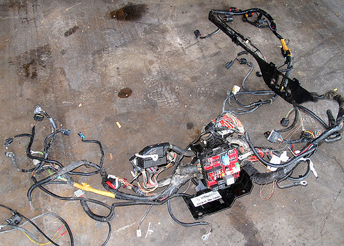 complete engine compartment wiring harness in a 2005 ford