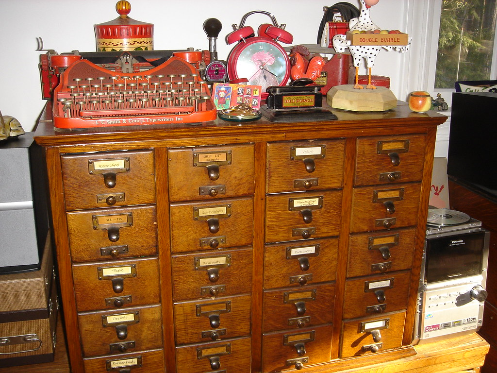Library Card Catalog Drawers And My Red Smith Corona Flickr