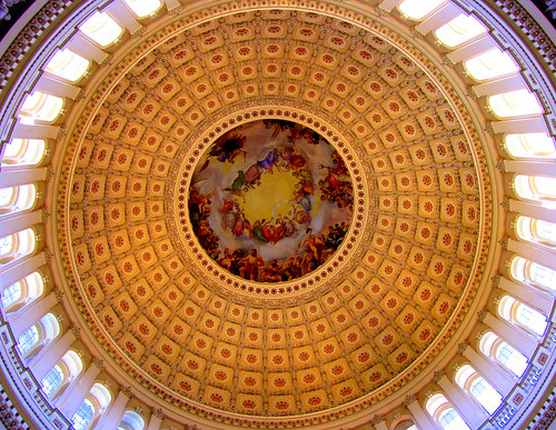 Inside the dome of the U.S. Capitol Building, Washington ...