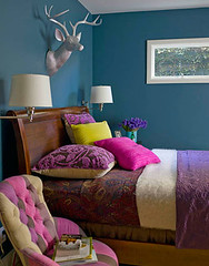 Ideas for small spaces: Bright teal blue bedroom + jewel tone accents | by SarahKaron