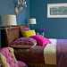 Ideas for small spaces: Bright teal blue bedroom + jewel tone accents