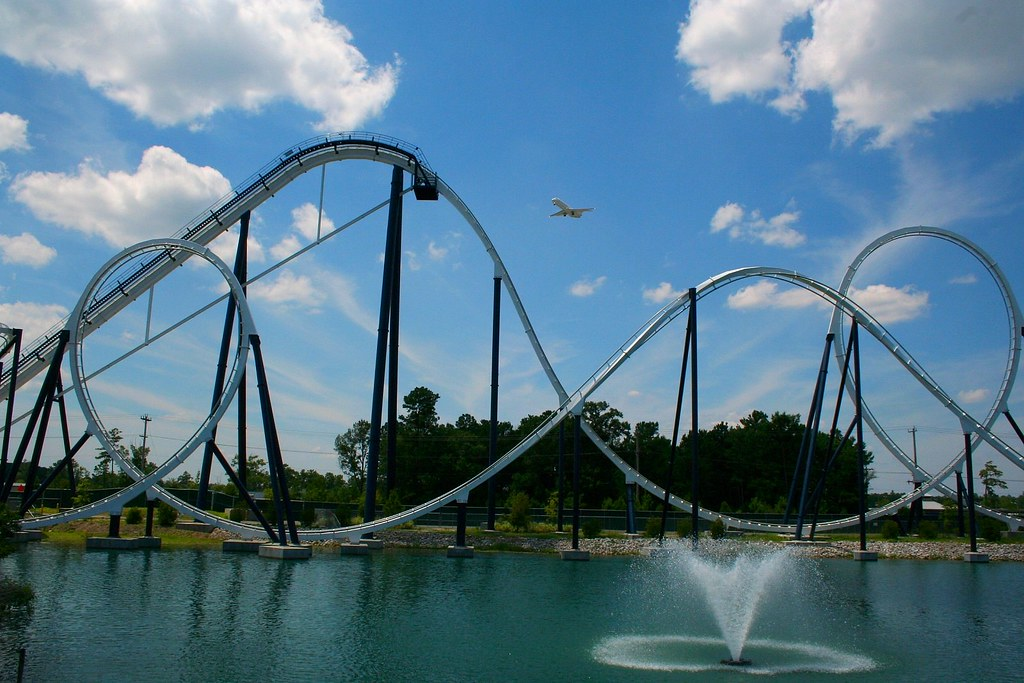 a plane soars of the time machine at freestyle music park