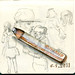 Sketching on the way with my antique triangle pencil and Stabilo on the top.
