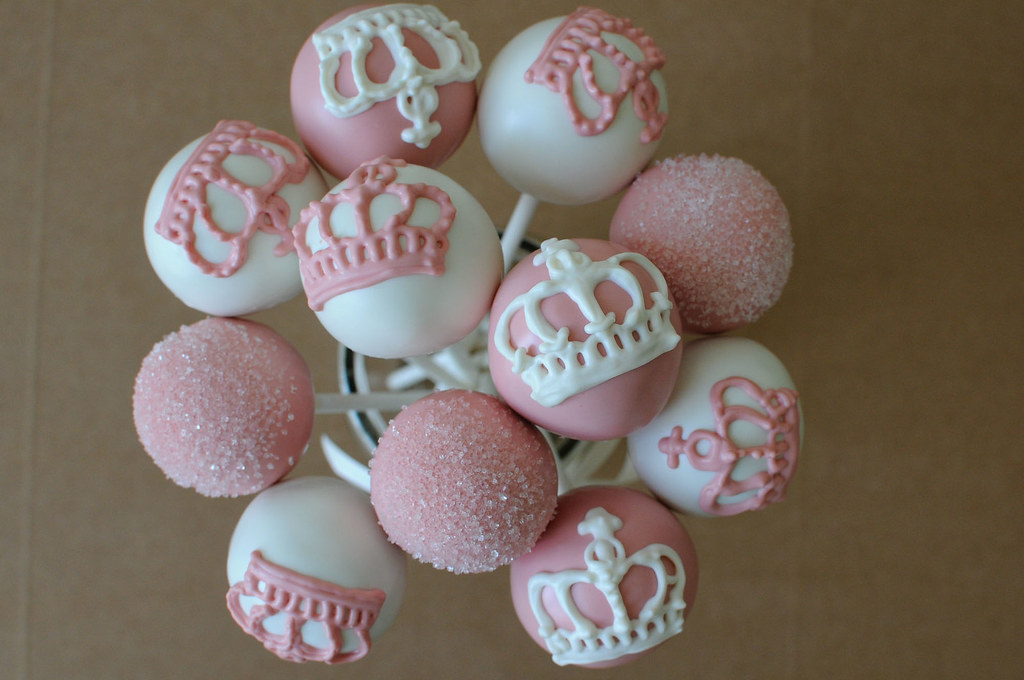 Pink And White Princess Cake Pops Royal Crowns And