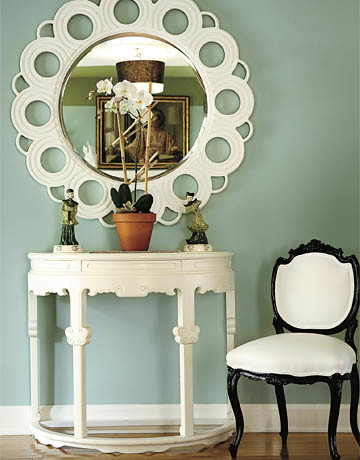 Sherwin-Williams's 'Hazel': Sage green foyer + white decor | by SarahKaron