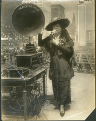 Fritzi Scheff demonstrating Magnavox for Fifth Liberty Loan in New York City, 1895 | by Powerhouse Museum Collection