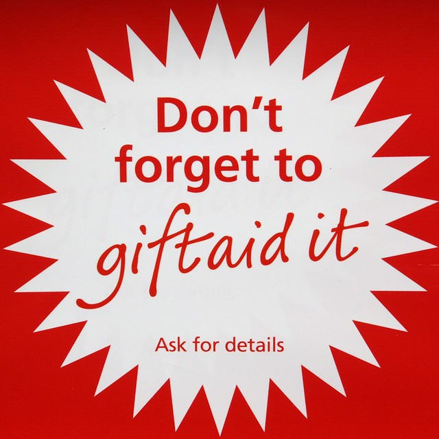 Gift Aid Charity Shop Poster British Heart Foundation