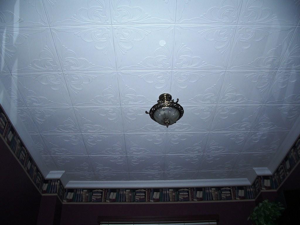 Ceiling tile over popcorn ceiling