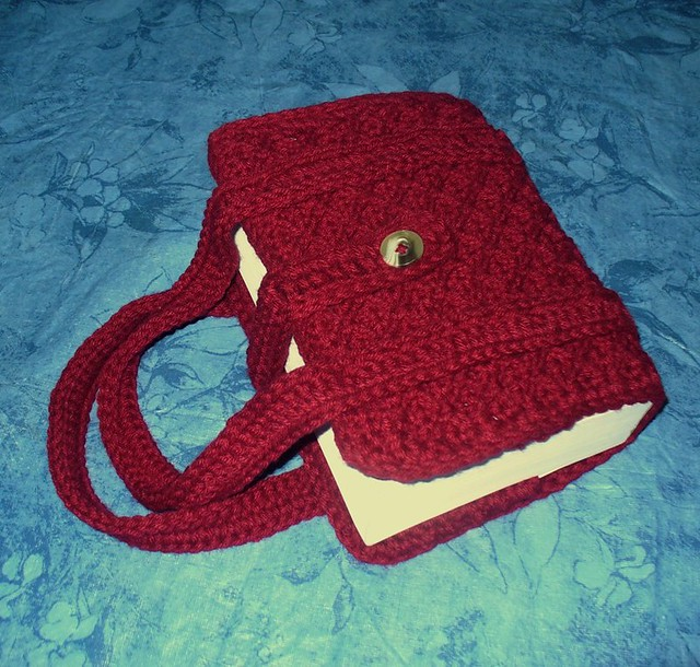 Book Cover Crochet S ~ Crocheted book bible cover paperback tote with button clos
