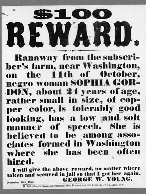 runaway reward poster november 16 1858 dcpl commons flickr
