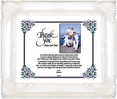 Thank You Gift For Mom On Wedding Day : Personalized thank you to parents on wedding day Special t ...
