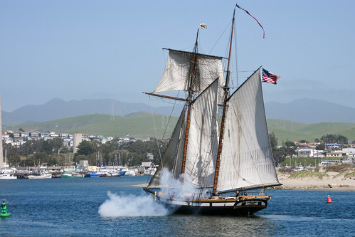 The sailing ship Lynx, firing cannons, enters Morro Bay 02 April 2009. | by mikebaird