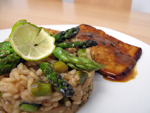 asparagus lemongrass risotto, tangerine baked tofu | risot… | Flickr