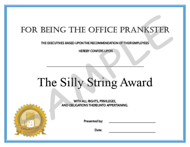 funny employee office awards the silly string award by officeravecom