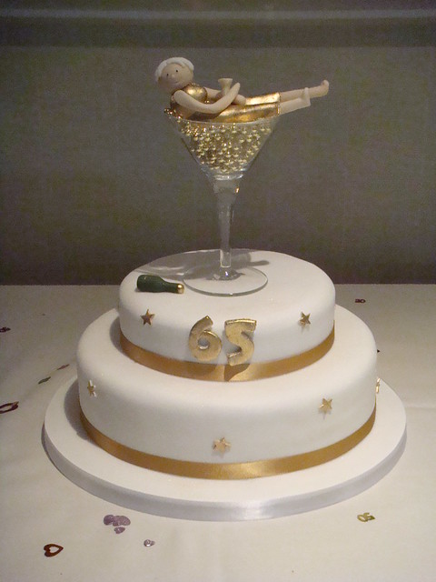 Images Of Birthday Cake And Champagne : 2 tiier 65th Birthday cake with champagne glass topper ...