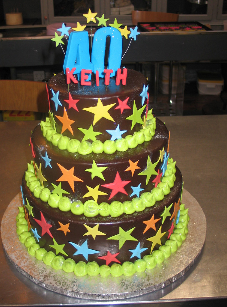 3 Tier 40th Birthday Cake With Bright Stars Amp 3d 40 Flickr