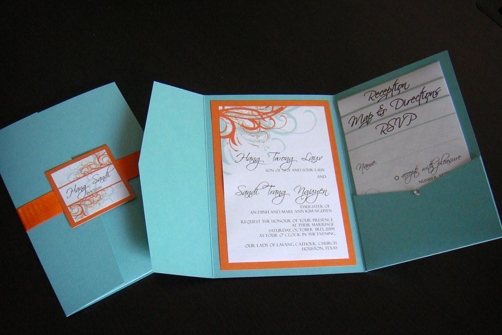 Teal Invitations Wedding: Wedding Invitations (Blue + Orange)
