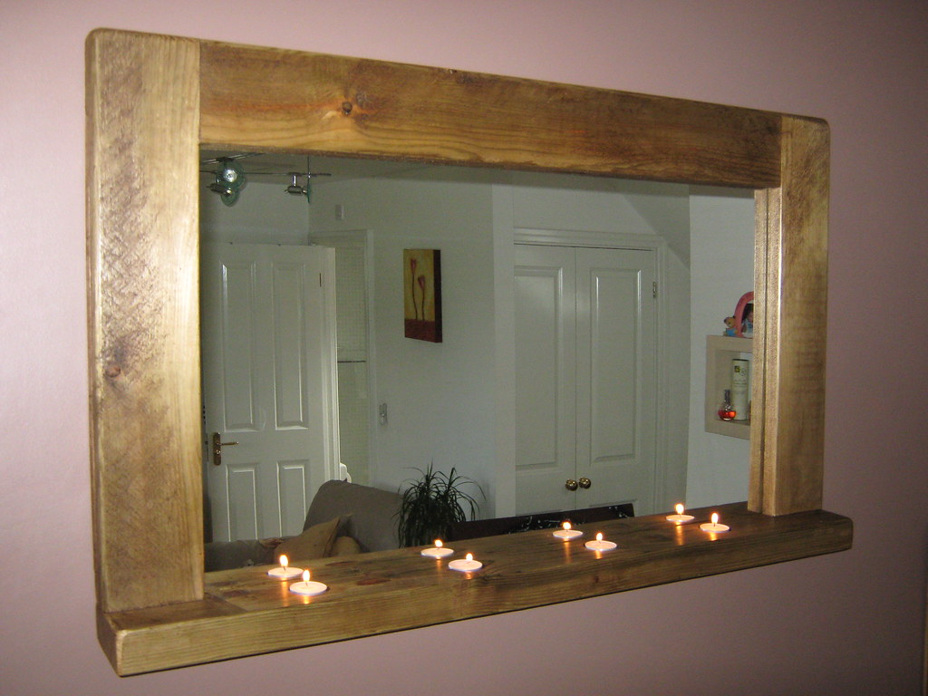 100x60cm rustic mirror with shelf : 4u0026quot; wide frame with ...
