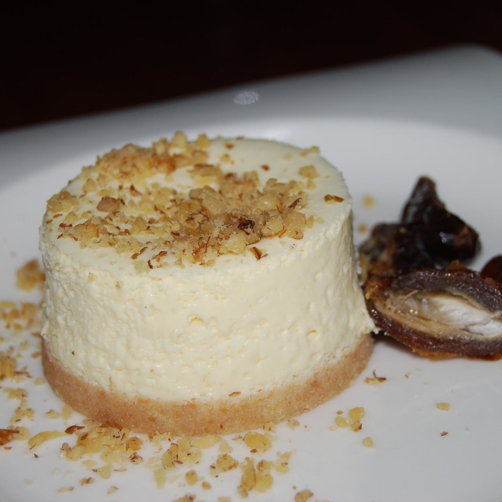 Goat cheese cheesecake   With a few dates on the side. I ...